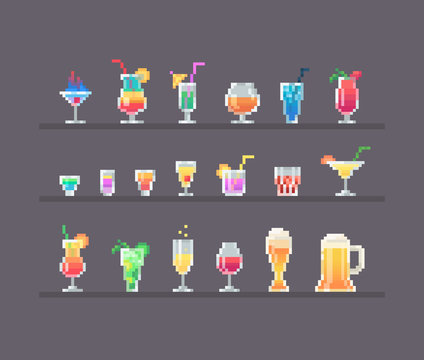 Pixel art style alcohol drinks and cocktails set