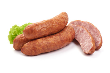 Pork Dried Sausages with lettuce, Close-up, isolated on a white background.