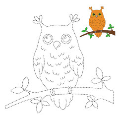 drawing worksheet for preschool kids with easy gaming level of difficulty. Simple educational game for kids. Illustration of owl sitting on the branch for toddlers