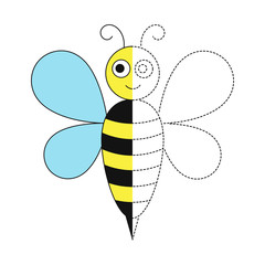 drawing worksheet for preschool kids with easy gaming level of difficulty. Simple educational game for kids. Illustration of bee for toddlers