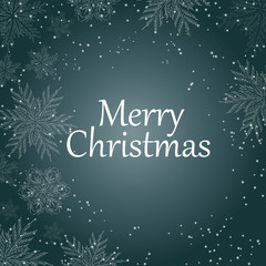 Merry Christmas . White text with snowflakes on blue background. Christmas holidays typography. Vector