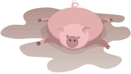 Pig in full relaxation lying in a puddle isolated on white background. Symbol of the year according to the eastern calendar.