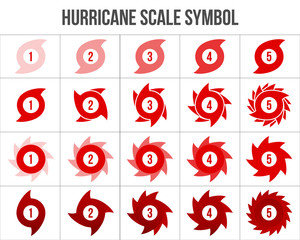 Creative vector illustration of hurricane scale indication icon symbol set isolated on transparent background. Art design vortex, typhoon, tornado funnel, wind storm. Abstract concept graphic element