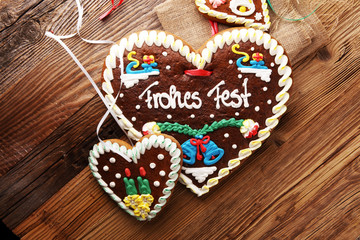 original bavarian christmas gingerbread heart on wood. xmas gingerbread cookie.