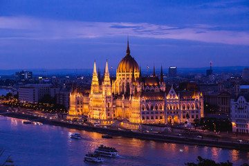 Hungarian Parliament Building in Budapest, One of the most beautiful buildings in the Hungarian capital.
