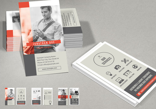 Gray and White Vertical Business Card Layout with Red Accents