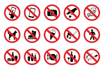 Set Prohibited Signs.  Red icons. Vector