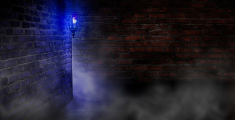 Dark street of the old town with a large lantern, night view, old brick walls, a dark gloomy background with smoke and neon light. Neon night city.