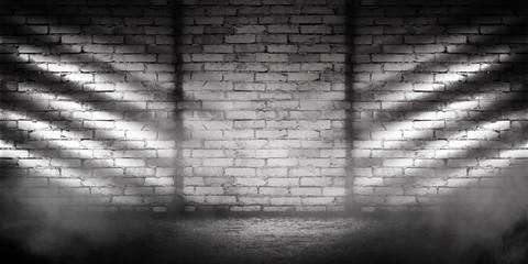 Background of empty brick wall, concrete floor, neon light, searchlight rays, smoke, smog
