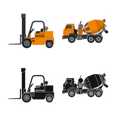 Vector illustration of build and construction symbol. Collection of build and machinery stock symbol for web.