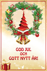 Swedish Christmas and New Year greeting card, designed for the New Year 2019 celebration.
