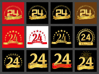 Set of number twenty-four (24 years) celebration design. Anniversary golden number template elements for your birthday party..