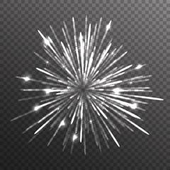 Fireworks explosion on transparent background. Vector illustration.
