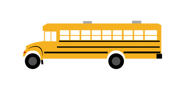 Yellow school bus, isolated on white