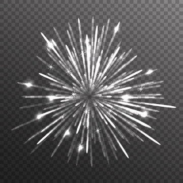 Fireworks explosion on transparent background. Vector illustration.