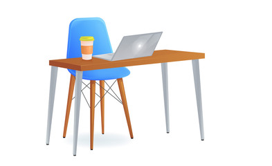 Office chair with table and laptop and   take away coffee. Modern furniture for workplace