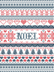 Vector Christmas  pattern Noel inspired by  festive, winter Nordic culture in cross stitch with hearts, christmas present, decorative ornaments, snowflake, christmas tree, stars, snow in red ,blue