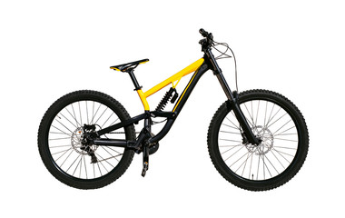 Mountain bike with disc brakes for downhill and cross-country riding. Extreme bicycle isolated on white background