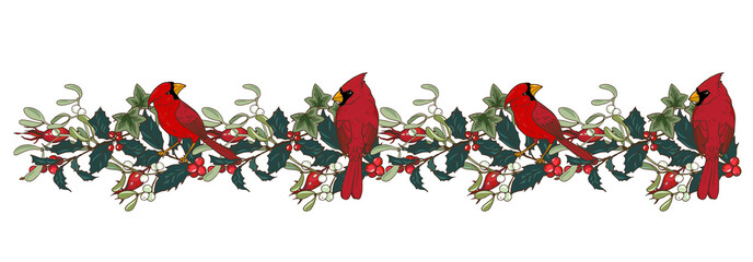 Northern cardinal and Holly branches