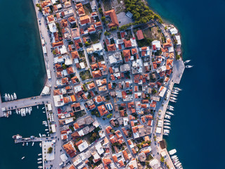Aerial view of Ermioni houses and yacht Marina in Aegean sea, Greece.