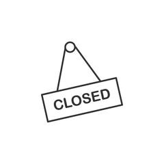 Closed, shop line icon. Simple, modern flat vector illustration for mobile app, website or desktop app on gray background