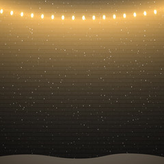 Black brick wall background with christmas lights and snowfall. Vector illustration