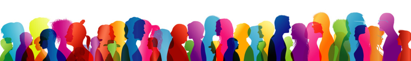 Crowd noise. Noisy people. Talking crowd. People talking. Colored silhouette profiles. Multiple exposure Fototapete