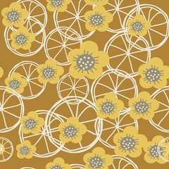 Yellow,grey and white flowers and lemons on brown background seameless repeat. Great for invitations, fabric, wallpaper, giftwrap, scrapbook paper. Surface pattern design.