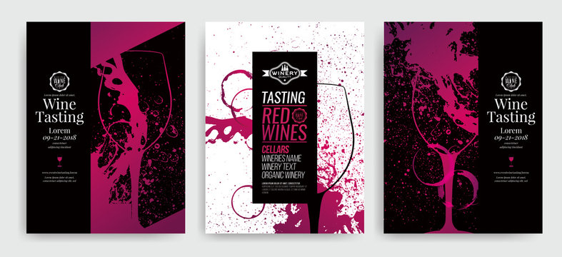 Artistic background for wine event. Idea for painting and wine event promotion, wine tasting. Illustration of wine glass and colorful spots. wine glass silhouette.