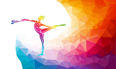 Creative silhouette of gymnastic girl. Art gymnastics with clubs