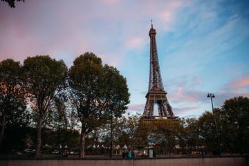 Eiffel tower in the twilight. Autumn sunset