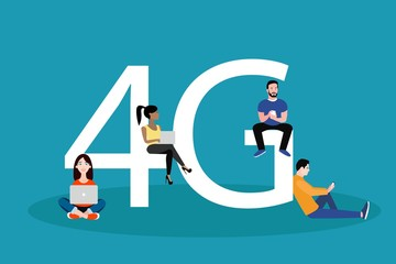 People with gadgets sitting on the big 4G symbol