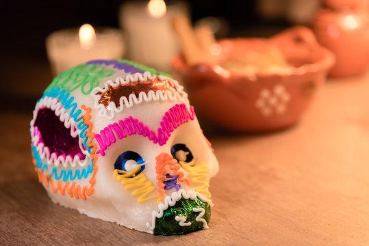 Sugar skull and light candles - Calaverita de azucar Dia de muertos