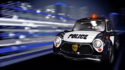 Полицейская машина едет по ночному городу
