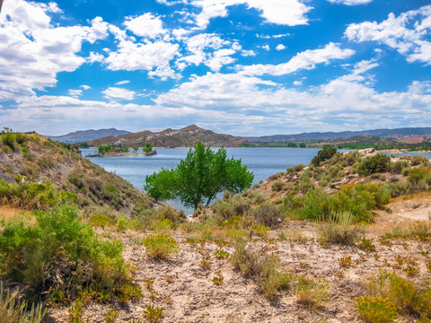 Flaming Gorge National Recreation Area located between Utah and Wyoming, a reservoir on the Green River, created by Flaming Gorge Dam located in the United States.