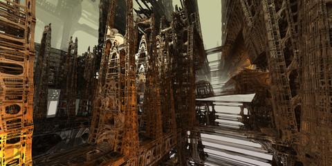 Abstract sci-fi landscape art.