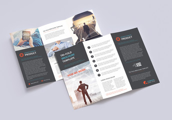 Trifold Brochure Layout with Blue and Red Accents