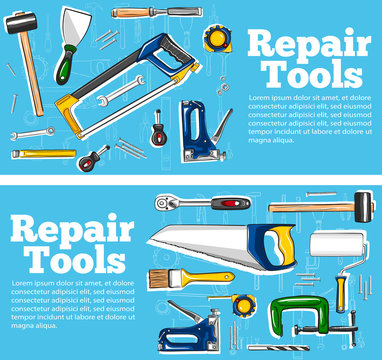 Repair tools flyers in hand drawn style