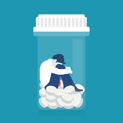 Sick patient drowning in medications.