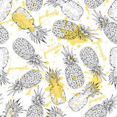 Foto op Canvas Grafische Prints Pineapple whole and slices seamless pattern, vector