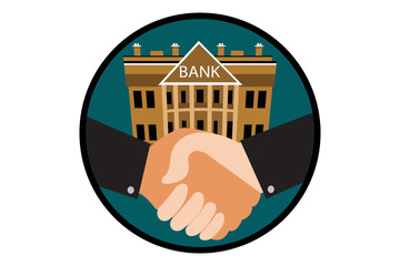 Busienssmen shaking hands in emblem with bank