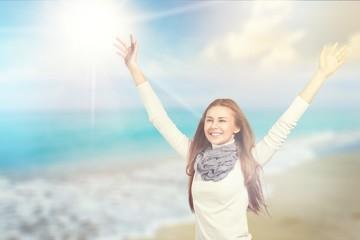 Attitude air deep positive winter woman fresh