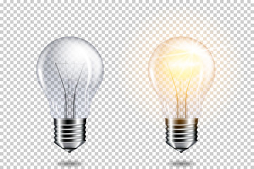Transparent realistic light bulb, isolated. Wall mural