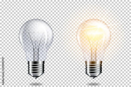 Wall mural Transparent realistic light bulb, isolated.