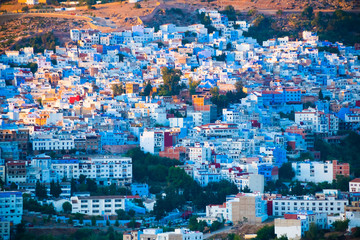 Cityscape of blue city Chefchaouen in Rif mountains, Morocco in North Africa