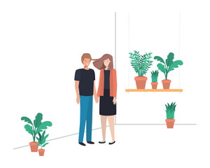 young couple with house plant avatar character