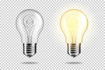 Wall Mural - Transparent realistic light bulb with etherium, isolated.