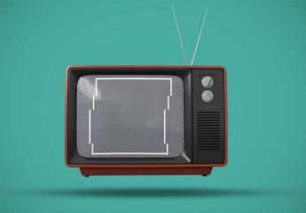Maqueta de pantalla de televisión retro