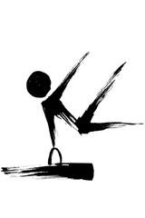 筆絵 体操競技のシルエット