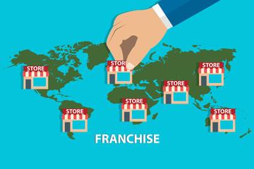 Businessman opening franchise store worldwide